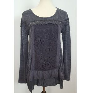 Anthropologie Meadow Rue Laced Tunic Top